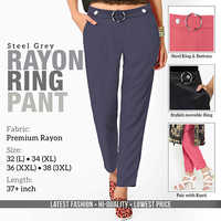 Steel Grey Rayon Ring Pant