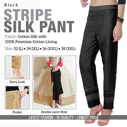 Black Stripe Silk Pant