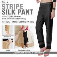 Black Stripe Silk Pant
