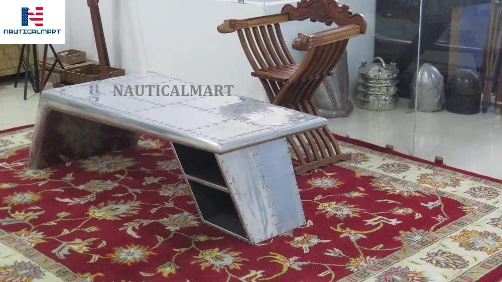 NauticalMart Vintage Aluminium Elegant Wings Desk Table with Silver Metal