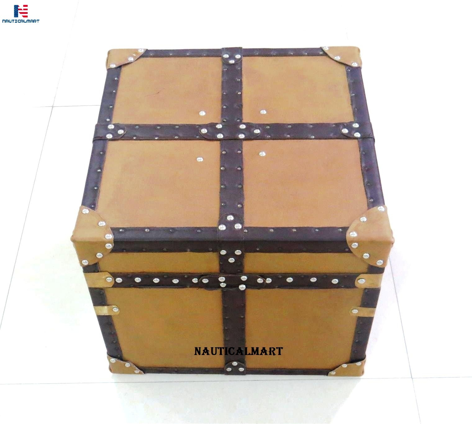 NauticalMart Aviator Mayfair Leather Trunk Coffee Table