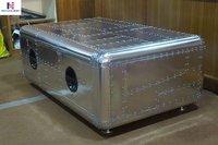 NauticalMart Vintage Coffee Table Aluminum Trunk