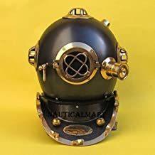 "Nauticalmart Brass Diving Helmet Painted Black 17"" Diving Helmets"