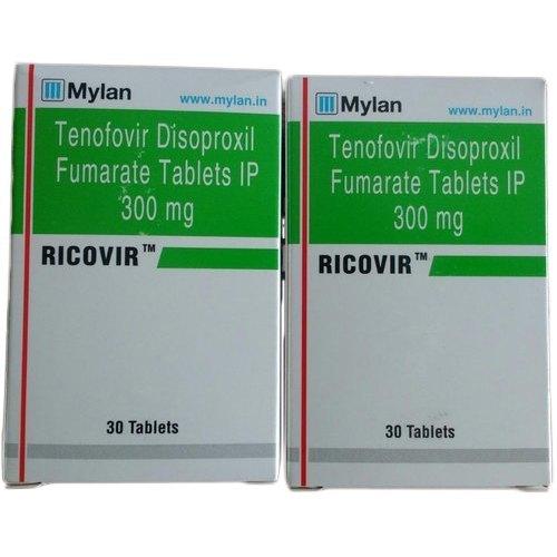 Ricovir 300mg Tablet (Tenofovir disoproxil fumarate (300mg) - Mylan Pharmaceuticals Pvt Ltd)