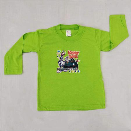 Kids Full Sleeves Green T Shirt