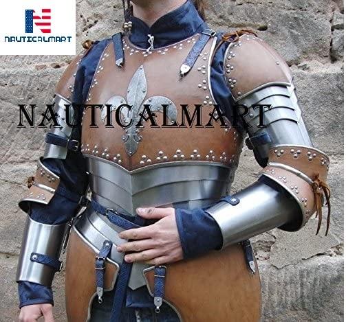 NAUTICALMART LARP Armor Fantasy Medieval Costume Armor Steel Armour Breastplate with Arm Set