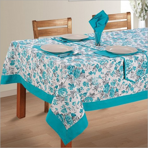 Turquoise Printed Rectangular Table Linen