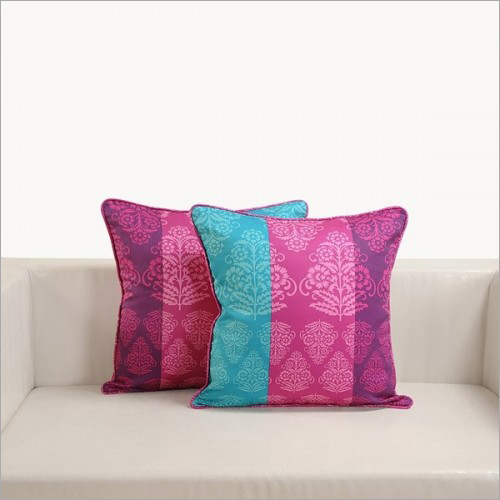 Tricolor Damask Printed Cushion Cover