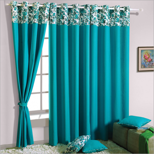 Bond Blue Solid Curtains