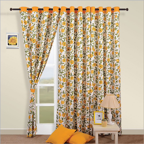 Sunrise Yellow Printed Curtain