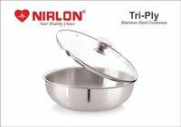 2.5L Nirlon Triply Stainless Steel Tasla, Kadhai