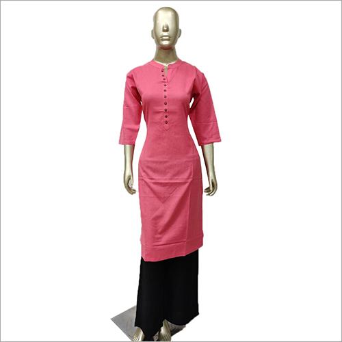 Ladies Plain Pink Kurti with Palazzo Set