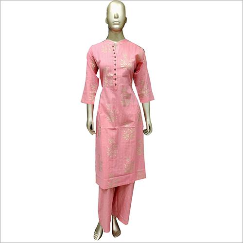 Party Wear Pink Kurti With Palazzo Set