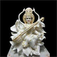 Polished Marble Saraswati Statue