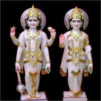 Polished Marble Laxmi Narayan Statue