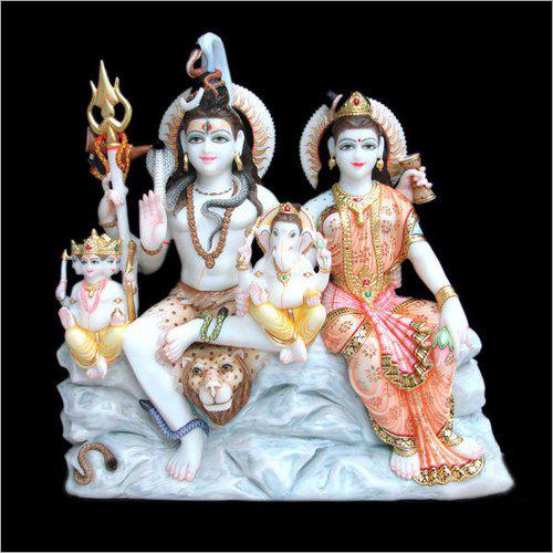 Polished Marble Lord Shiv Parivar Statue