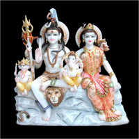 Polished Marble Lord Shiv Parivar Statue