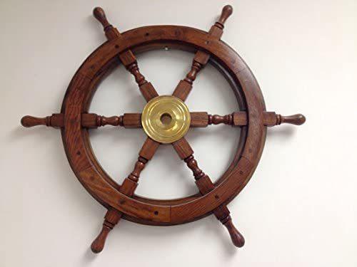 "NauticalMart Wood and Brass Ship Wheel 24"" Wooden Ships Wheel - Steering Wheel for a Boat Wheels -Decorative Ship's Wheel"