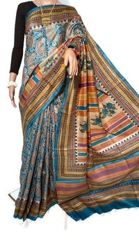 PURE TUSSAR SILK BLOCK PRINTED SAREE.