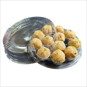 12 Pcs Disposable Plastic Ladoo Tray With Lid
