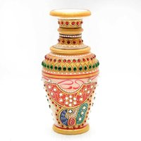 MARBLE VASE WITH GOLD PAINTING