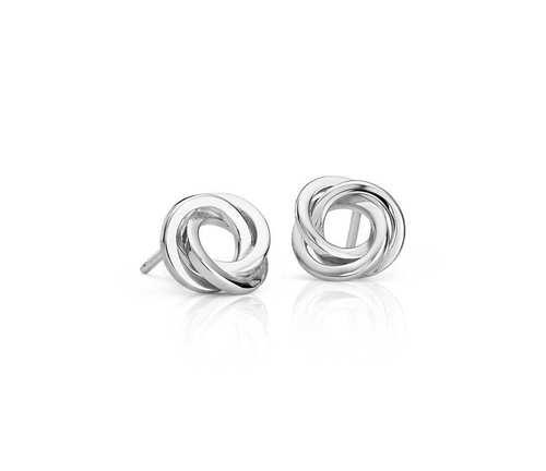 Silver Knot ear studs