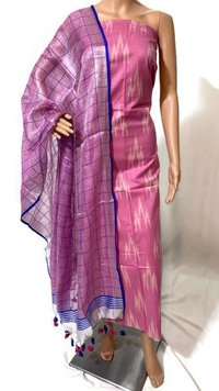 TOP- 2.5 MTRS IKKAT COTTON DUPATTA -2.15 MTRS TISSUE BY LINEN SUITS.  (NO BOTTOM)