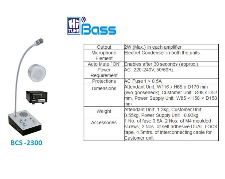COUNTER COMMUNICATION SYSTEM BCS 2300