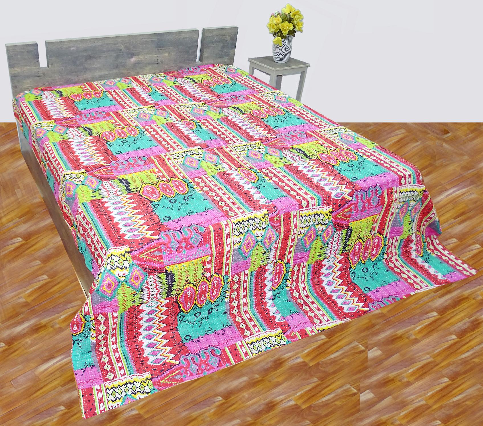Kantha Quilt  Multi Ikat Zigzag Design