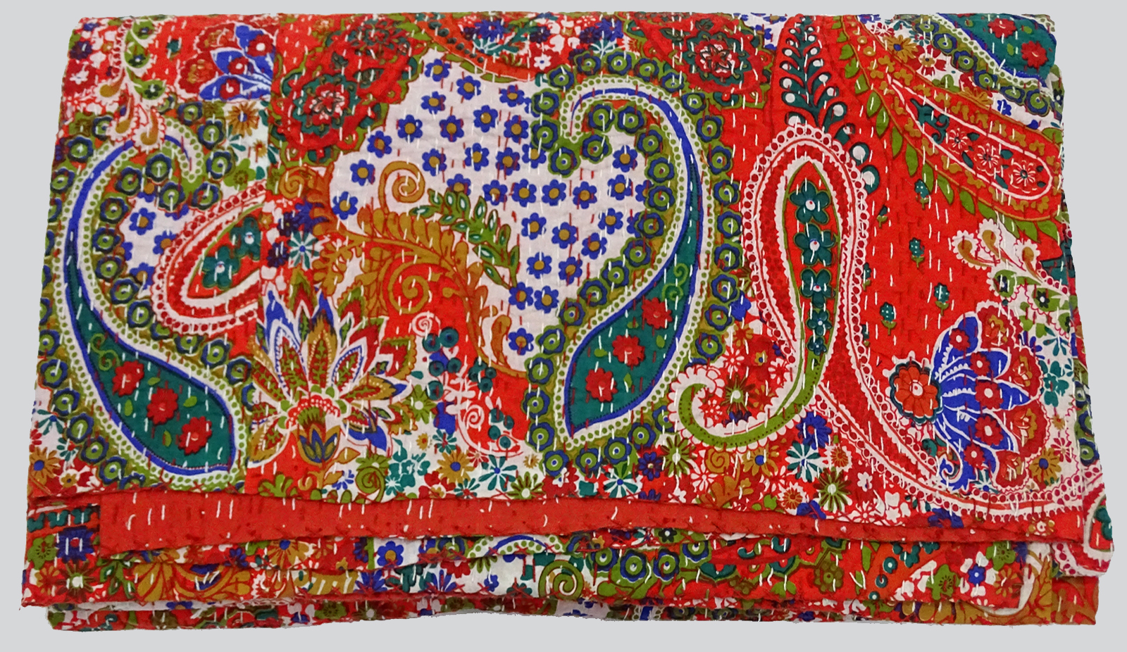 Kantha Bed Cover Paisley Design
