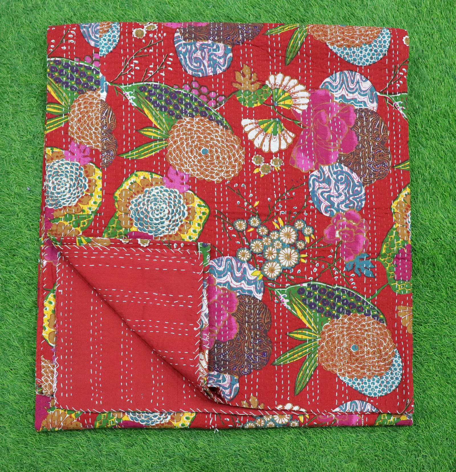 Kantha Bed Cover Fruit Design