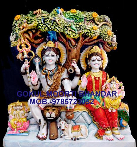 Marble Shiv Parvati God Statue