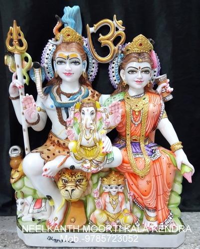 Marble Shiv Parivati Statue Idol