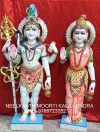 Standing Shiv Parvati God Statue