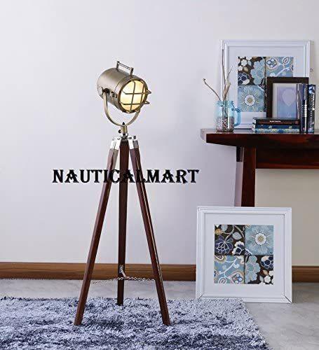 Vintage Home Decor Brass Finish Tripod Floor Lamp Search Light by NauticalMart