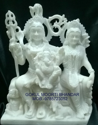 Marble shiv parvati family statue
