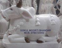 White Nandi Marble Statue