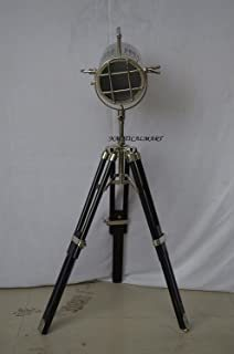 Handmade Antique Floor Search Light W/Black Tripod Stand