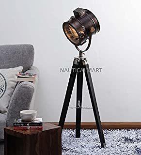 NAUTICALMART FLOOR STANDING BEAUTIFUL ANTIQUE BROWN TEAK WOOD TRIPOD FLOOR LAMP