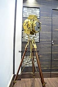 Vintage Nautical Signal Tripod Floor LAMP Rustic Finish Search Light