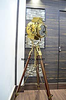 Vintage Nautical Signal Tripod Floor LAMP Rustic Finish Search Light