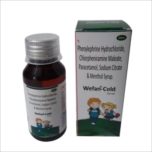 60 ml Phenylephrine Hydrochloride Chlorpheniramine Maleate Paracetamol Sodium Citrate And Menthol Syrup
