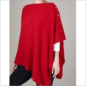 Cashmere Plain Poncho with Button , SIze-Free