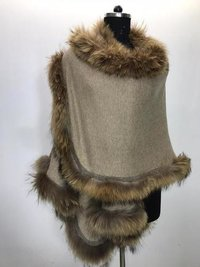 Cashmere All side Fur Cape Shawls , Size-Free