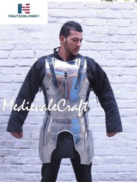 Medieval Knight Suit Armor Breastplate Arm Armour Guards Set Wearable Costume with Steel Tasset Belt