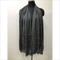 Natural Pashmina With Pearls Stole, Size-70x200cm
