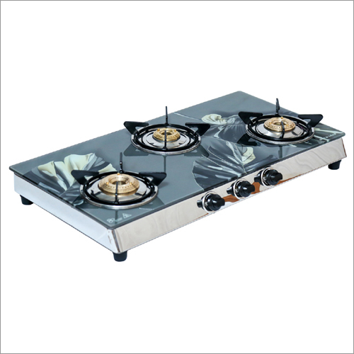 Three Burner Gas Stove with GlassTop