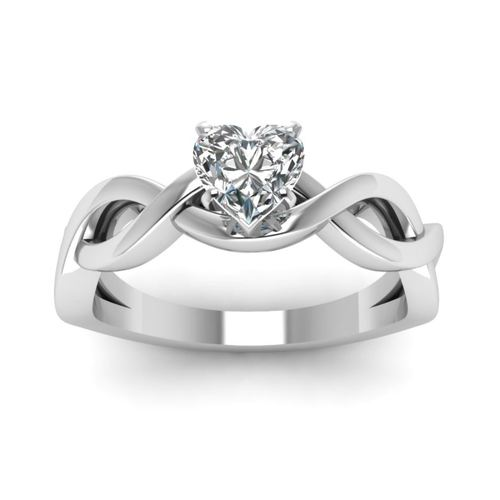 Heart Shape Solitaire Silver Ring
