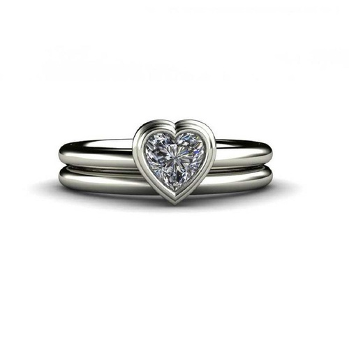 Silver Designer Solitaire Ring