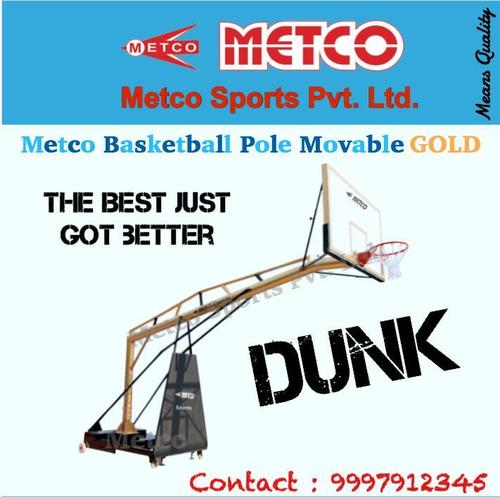Movable Basketball Pole Gold - Black